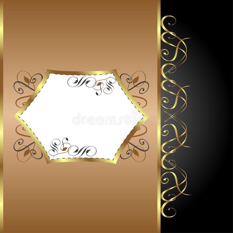 ferie för hälsning för guld för bakgrundskortblomma royaltyfri illustrationer
