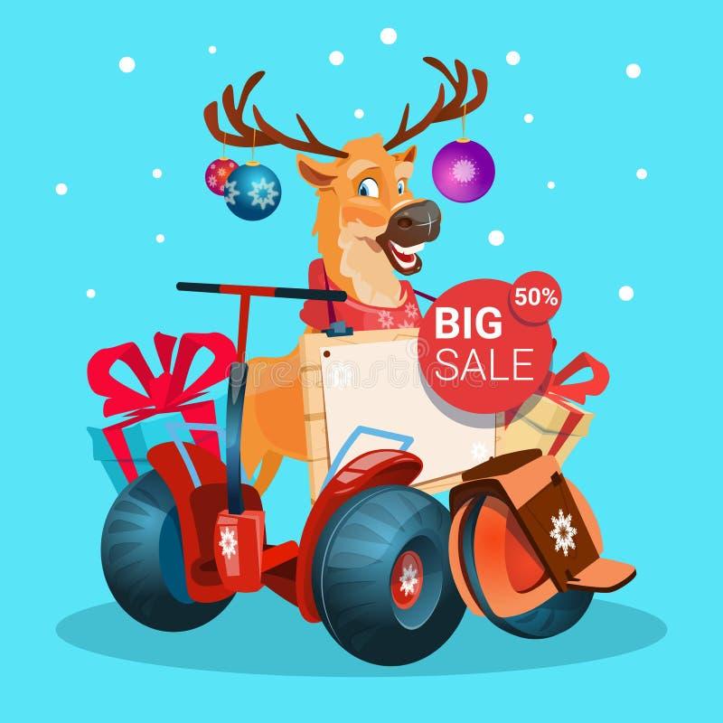 Ferie för jul för sparkcykel för renritt som elektrisk shoppar lyckligt nytt år för Sale baner stock illustrationer