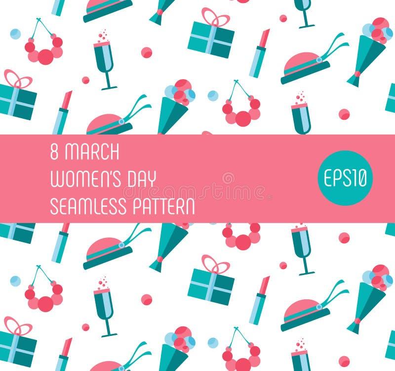 8 ferie för mars Modell för konst för lägenhet för dag för kvinna` s sömlös vektor illustrationer