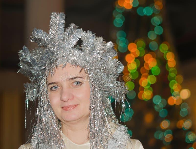 Ferie för nytt år Kvinna snöjungfru arkivfoto