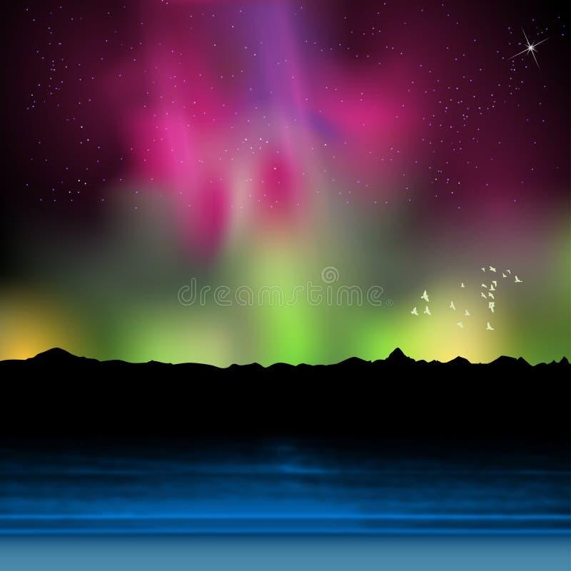 Ferie nattsommarstrand med morgonrodnad vektor illustrationer