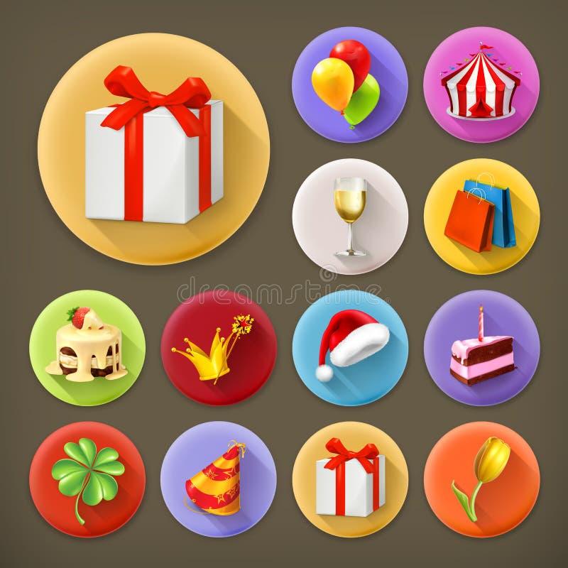 Ferie och gåvor, symbolsuppsättning stock illustrationer