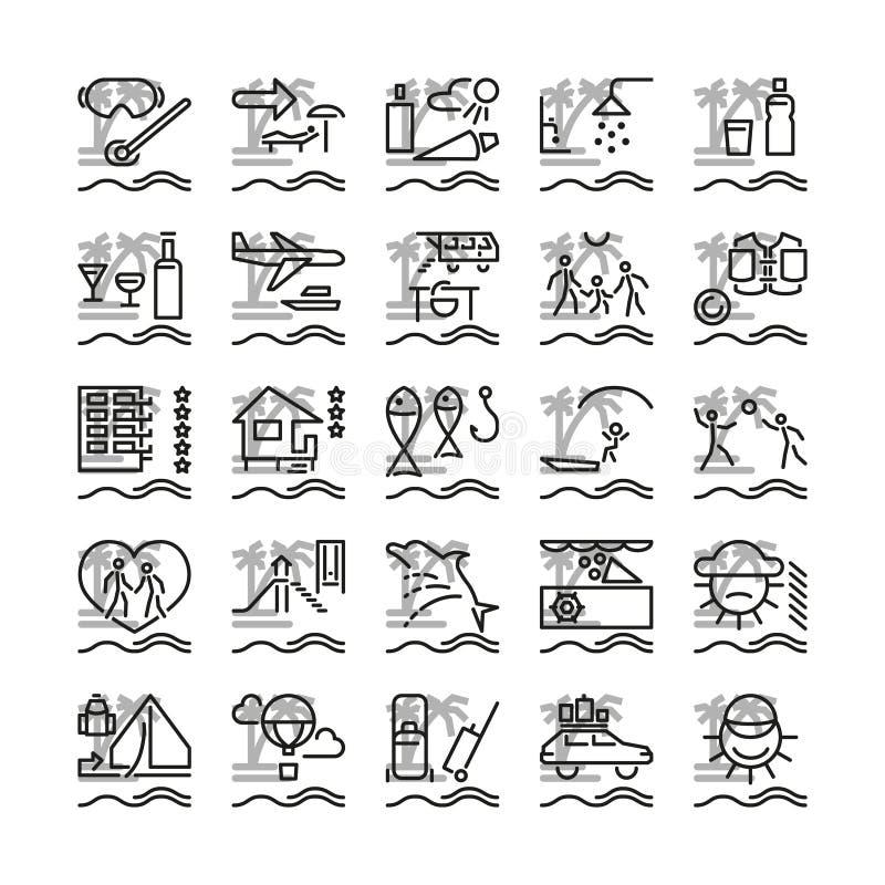 Ferie på havssymboler vektor illustrationer