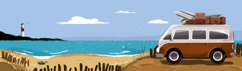 Ferie på stranden vektor illustrationer