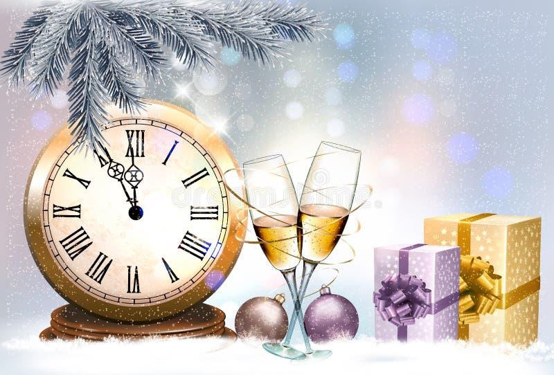 Feriebakgrund för nytt år med askar för en gåva och två exponeringsglas av vektor illustrationer