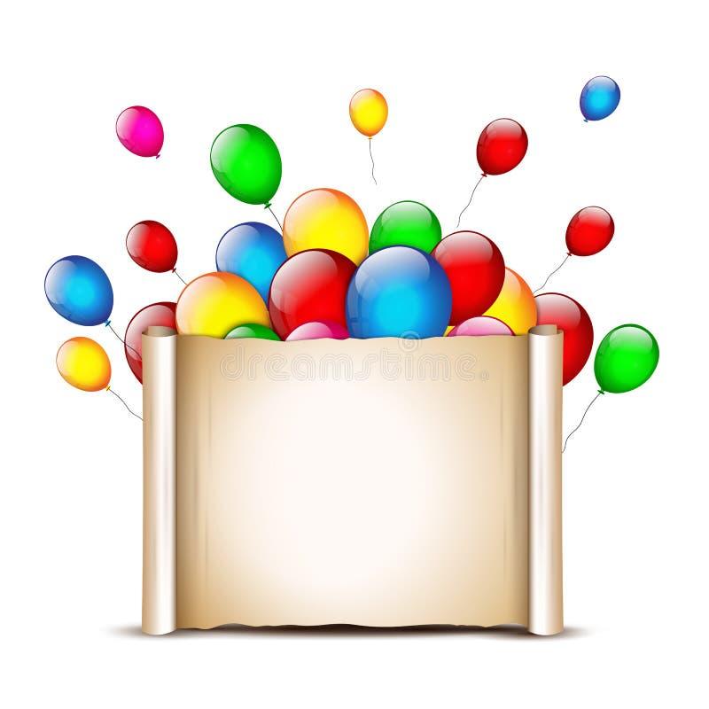 Feriebaner med färgrika ballonger Templ för papper för födelsedagkort stock illustrationer