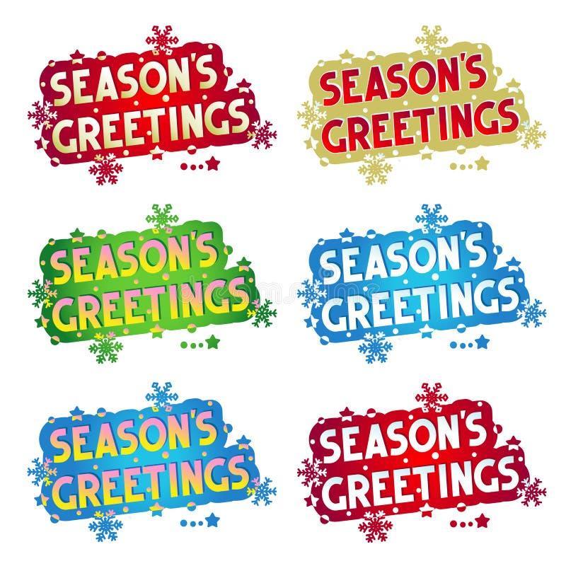 Feriehälsningar - säsongs hälsningar! - 6 varianter stock illustrationer