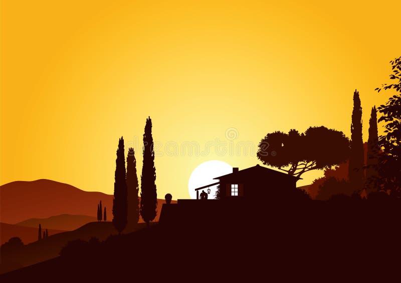 Feriehem i solnedgång royaltyfri illustrationer