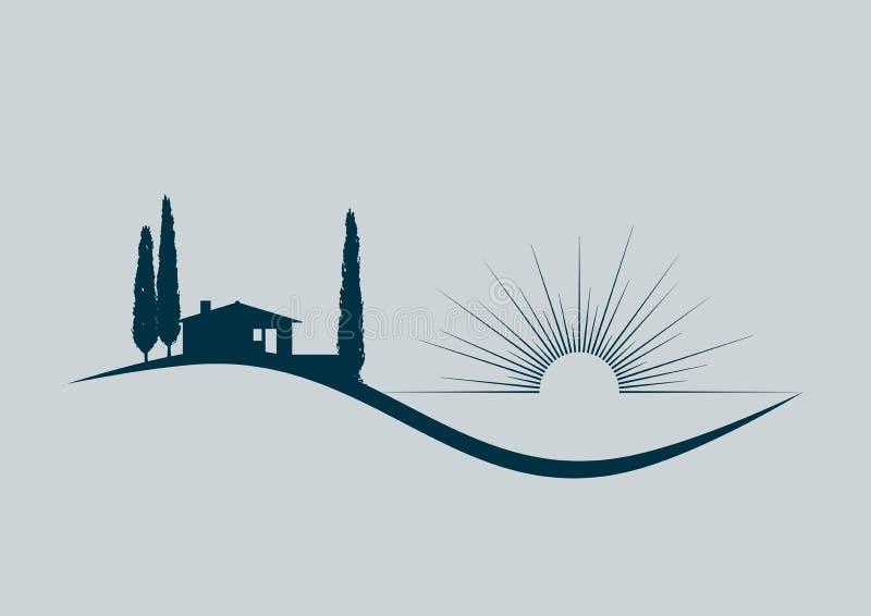 Feriehem vid havet royaltyfri illustrationer