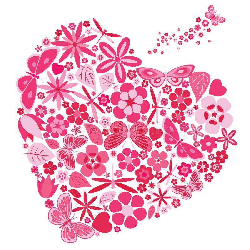 Feriehjärta med blommor och fjärilar vektor illustrationer