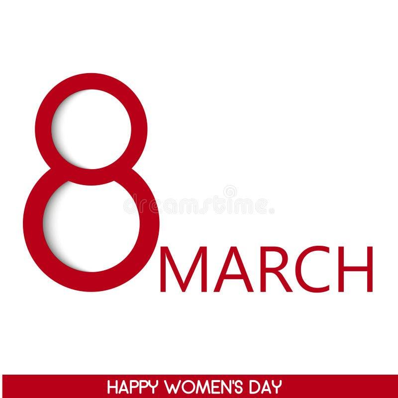 8 feriekort för marsch Card för dag för kvinna` s vektor stock illustrationer