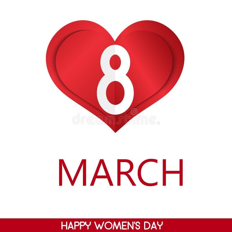 8 feriekort för marsch med hjärta Card för dag för kvinna` s vektor stock illustrationer