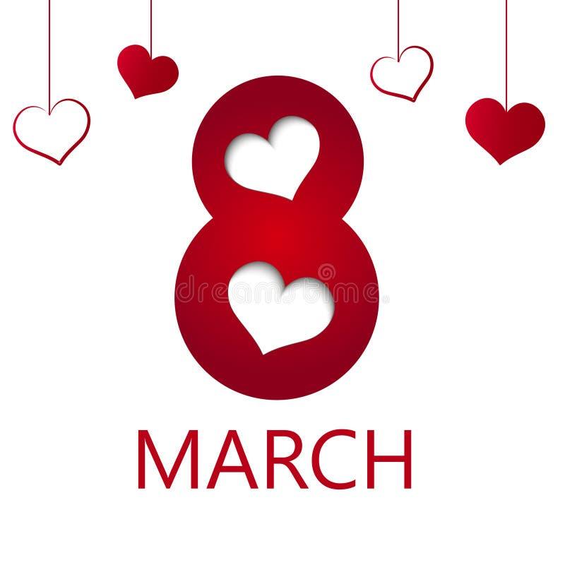 8 feriekort för marsch med hjärta Card för dag för kvinna` s vektor royaltyfri illustrationer