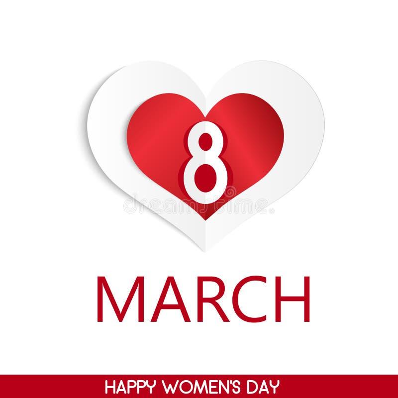 8 feriekort för marsch med hjärta Card för dag för kvinna` s vektor vektor illustrationer