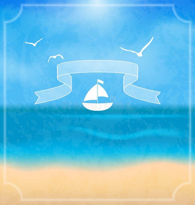 Feriekort med stranden för din sommardesign royaltyfri illustrationer
