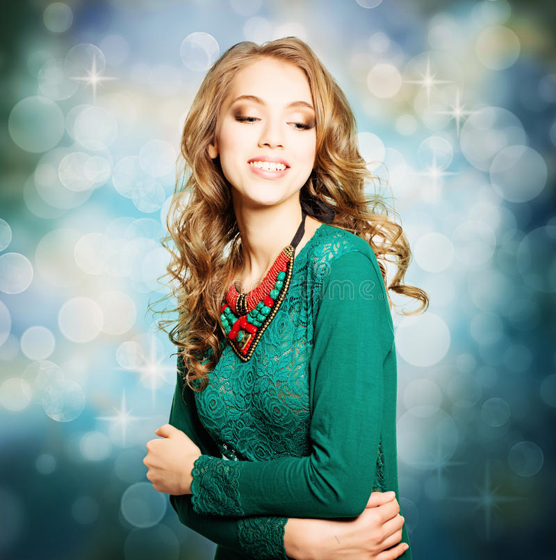 Feriekvinna Flicka för stil för skönhetmodejul royaltyfri bild