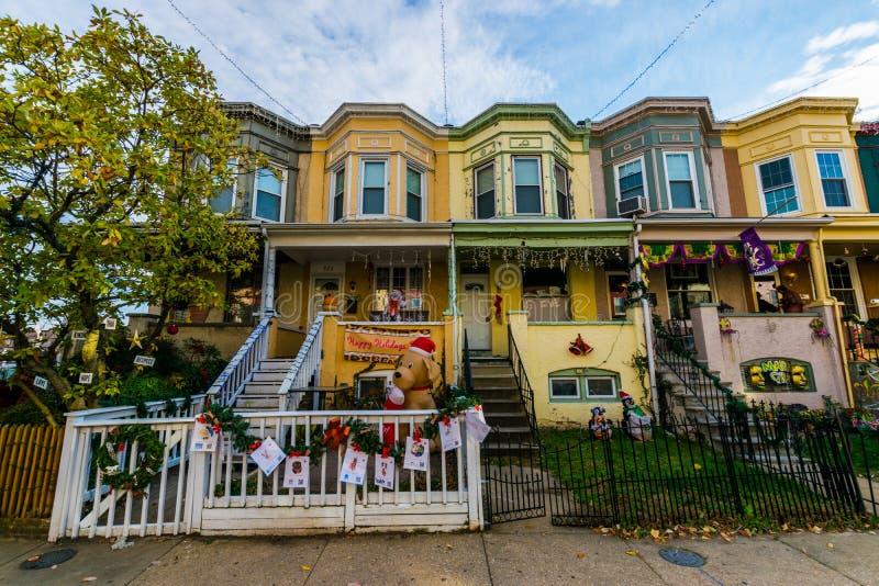 Ferieljus och garnering i Hampden, Baltimore Maryland arkivbilder