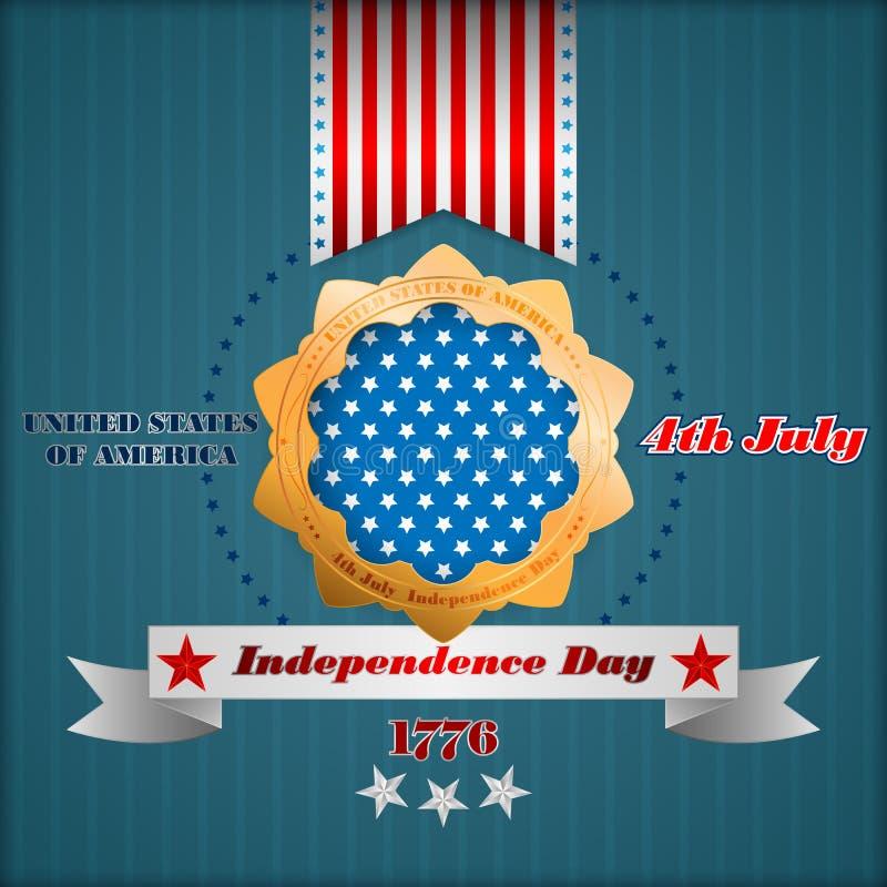 Feriemallen med den stiliserade guld- rosetten och stjärnor på nationsflaggan färgar för fjärde Juli, amerikansk självständighets royaltyfri illustrationer