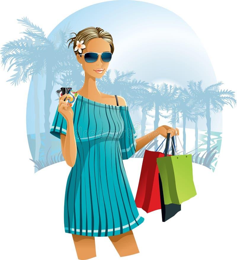 Ferien-Einkaufen stock abbildung