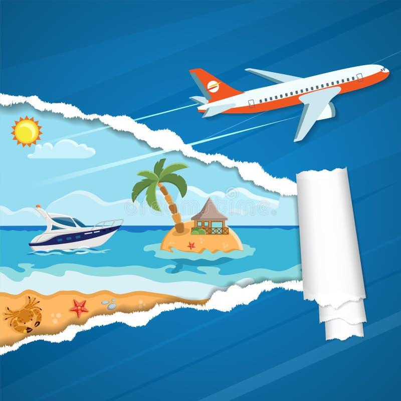 Ferien-Konzept-Insel durch heftiges Loch im Papier vektor abbildung