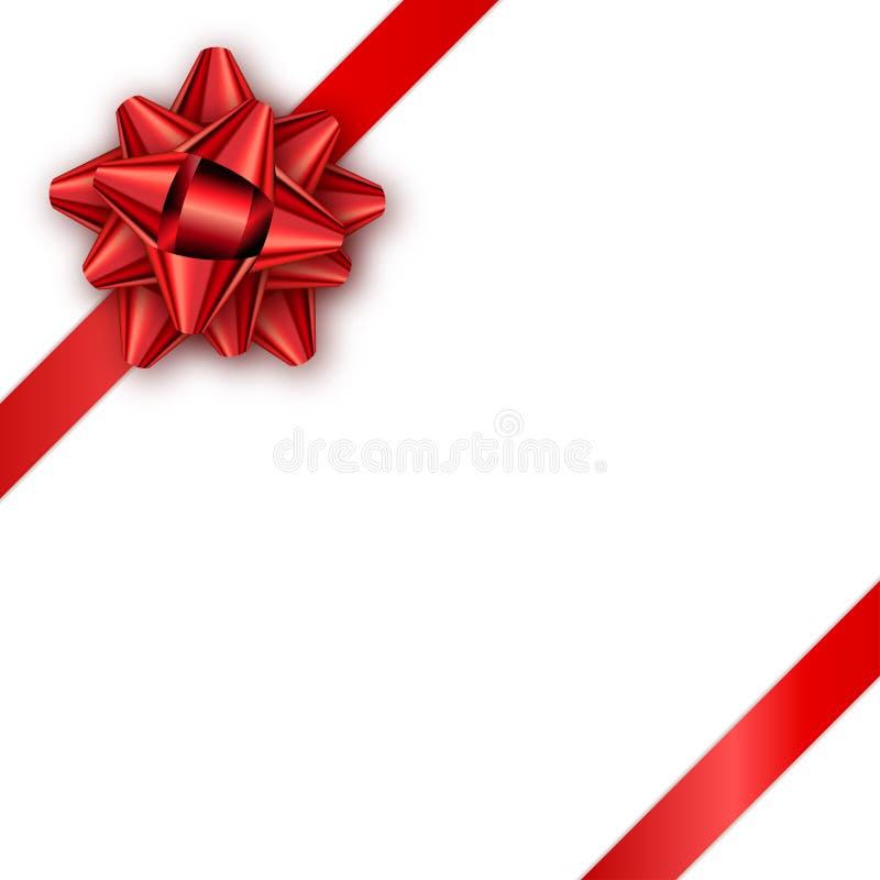 Feriengeschenkkarte mit rotem Band und Bogen Schablone für ein busine lizenzfreie abbildung