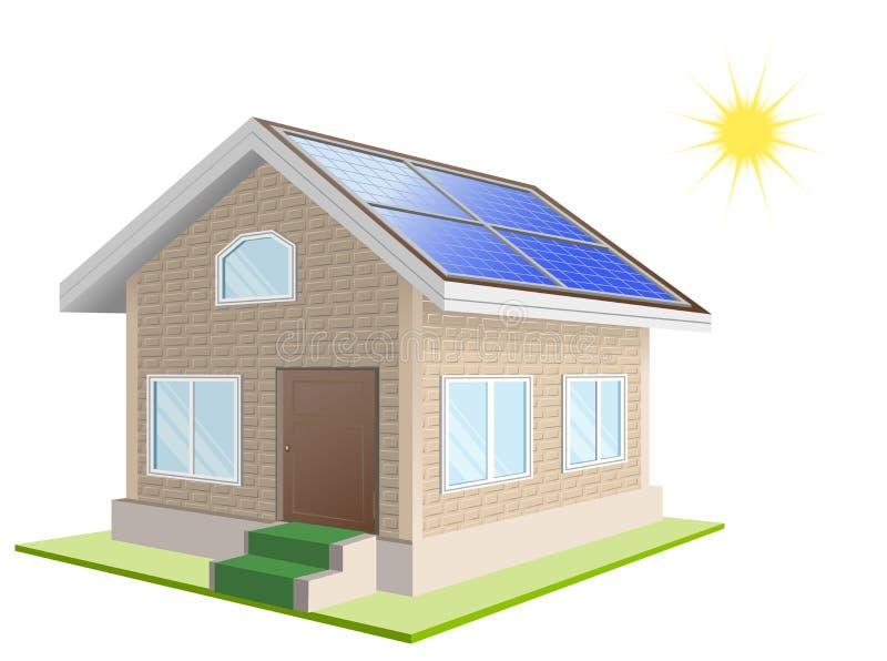 Ferienheim Sonnenkollektoren auf Dach blaue Version lizenzfreie abbildung