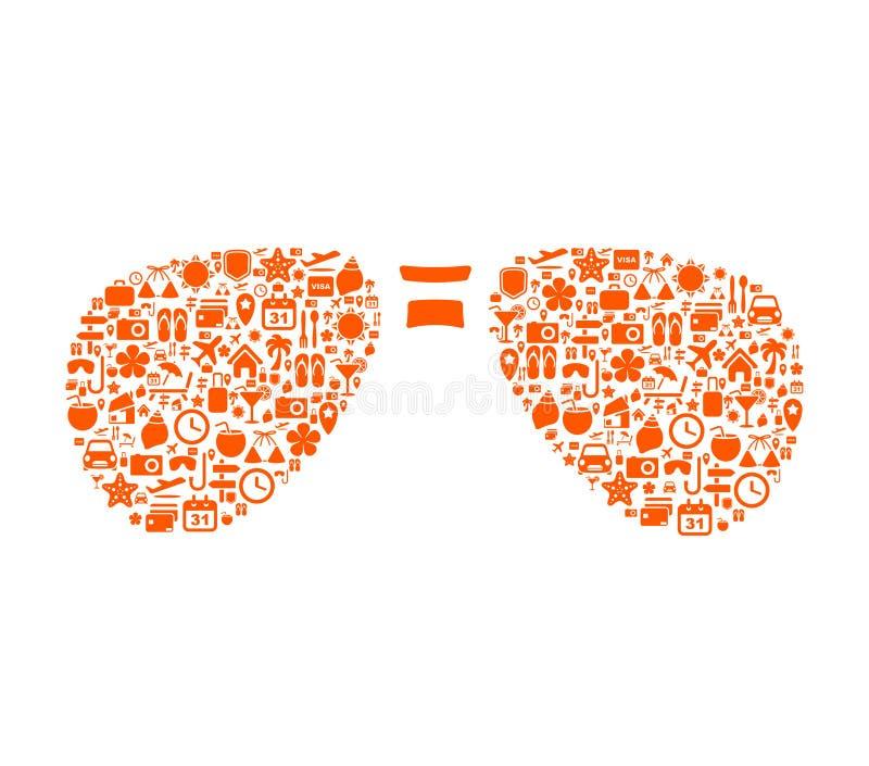 Ferienikonen in der abstrakten Sonnenbrilleform vektor abbildung