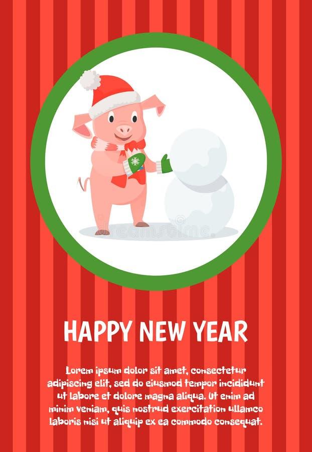 Ferier för lyckligt nytt år, spädgris i Santa Costume stock illustrationer