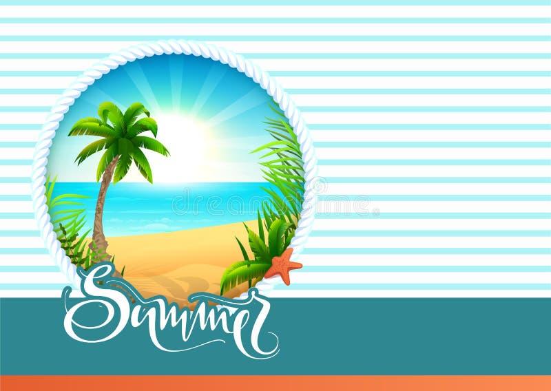Ferier för strand för kort för sommartexthälsning Det palmträd-, havs-, sol- och sandparadiset semestrar vektor illustrationer