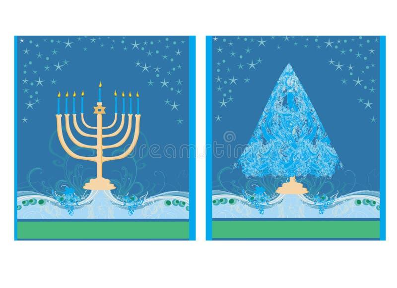 Ferier! kort med julgran- och Channuka stearinljus royaltyfri illustrationer