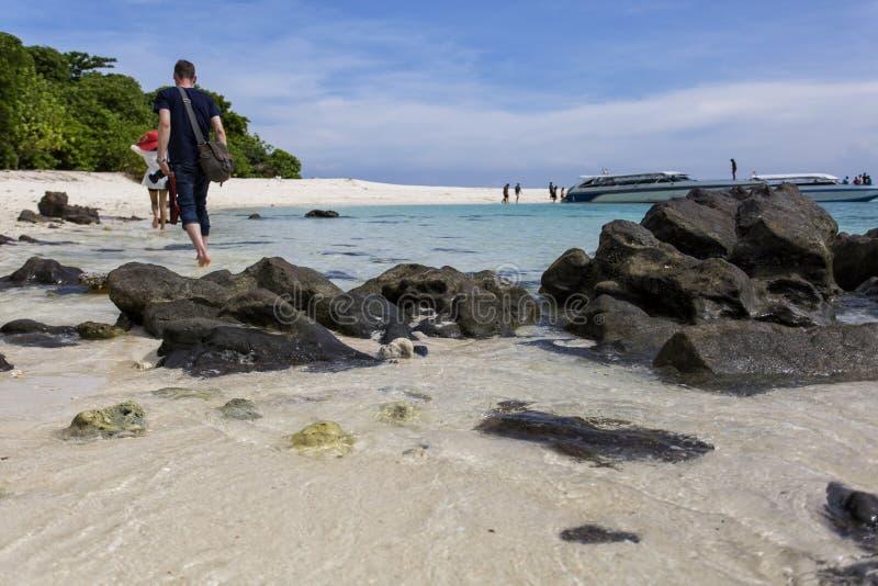 Ferier med vänner på stranden royaltyfri bild