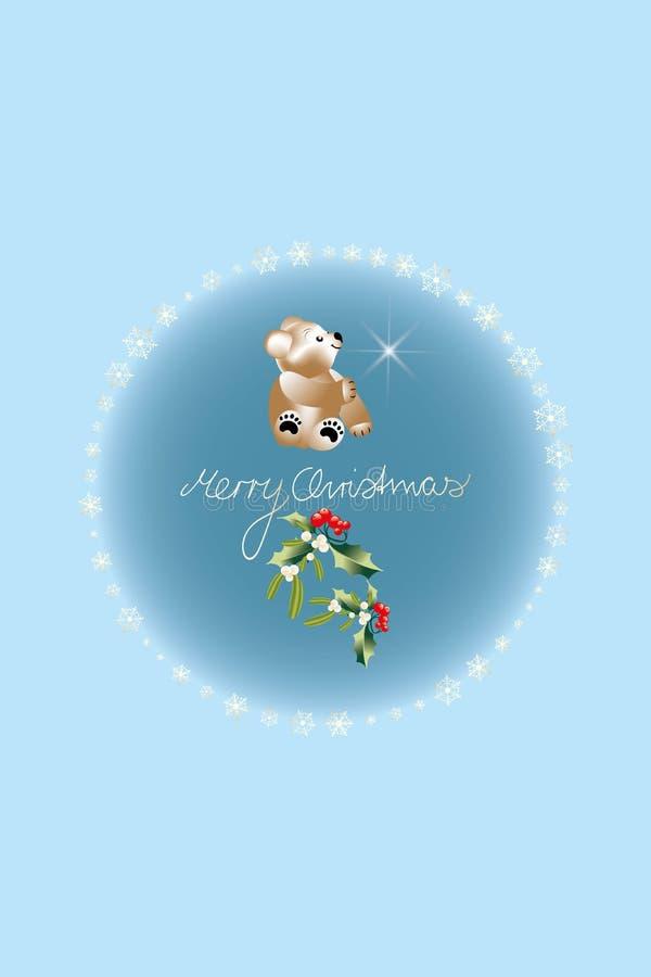 Ferier på jul med Nalle-björnen, järnek, mistel och glad jul som är skriftliga vid ett barn som inramas av guld- snöflingor stock illustrationer