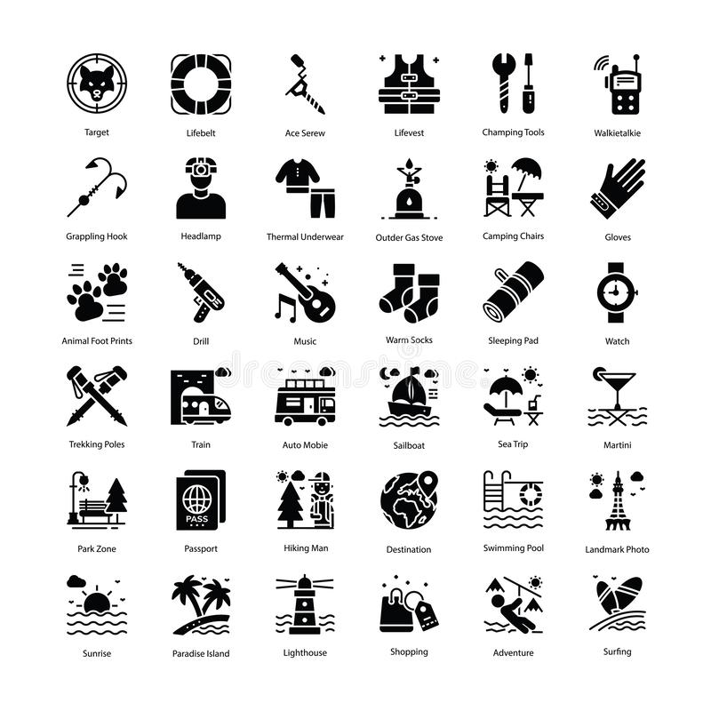 Feriesymboler packar vektor illustrationer