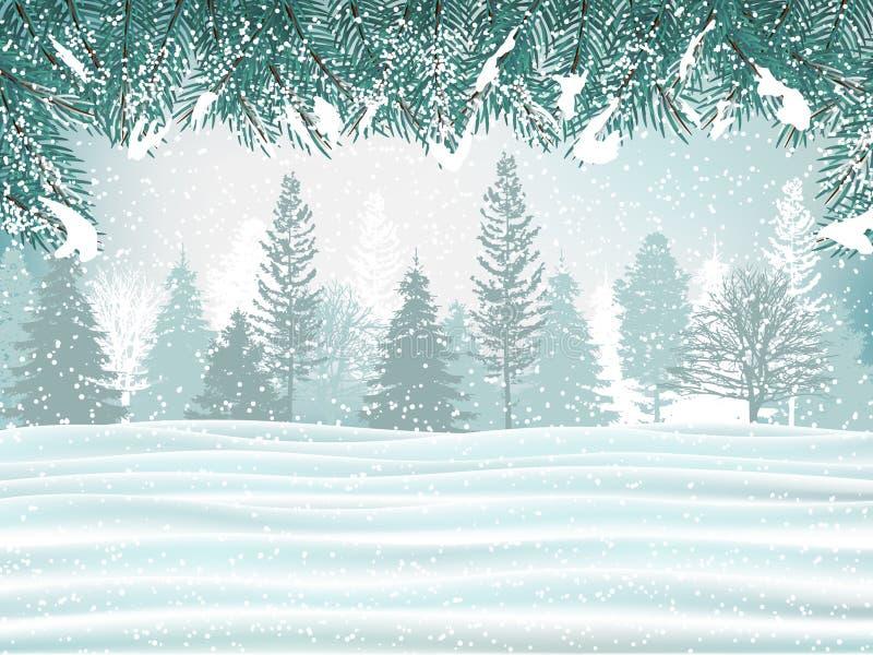 Ferievinterbakgrund Den härliga vintern landscape royaltyfri illustrationer