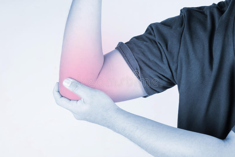 Ferimento do cotovelo nos seres humanos elbow a dor, pessoa médico, mono destaque das dores articulares do tom no cotovelo fotografia de stock royalty free