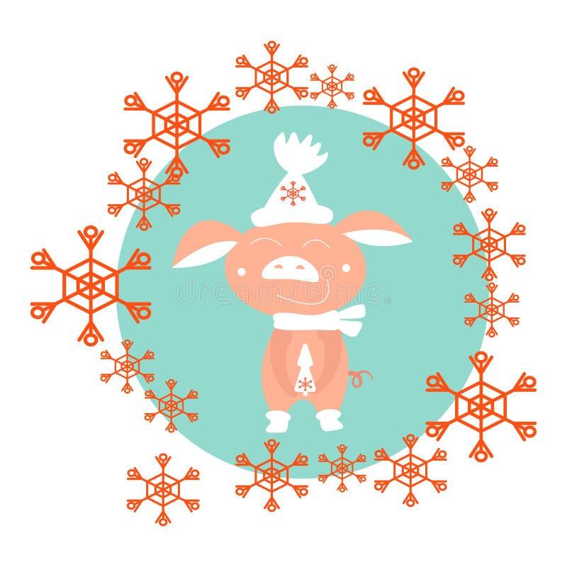 Ferkel im Winter in einem weißen Hut Im Kreis von roten Schneeflocken, Vektorillustration stock abbildung