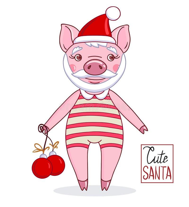 Ferkel - Santa Claus, die einen Hut und einen gestreiften Trikotanzug mit Weihnachtsbällen trägt stock abbildung