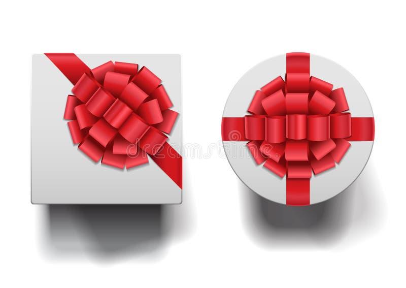 Fermé en rond et boîtes carrées avec de grands arcs réglés illustration stock