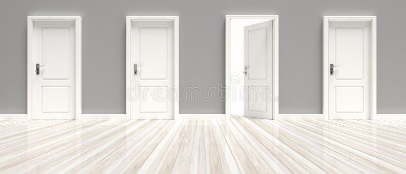Fermé et portes ouvertes sur le mur gris et le fond en bois blanc de plancher, bannière illustration 3D illustration stock