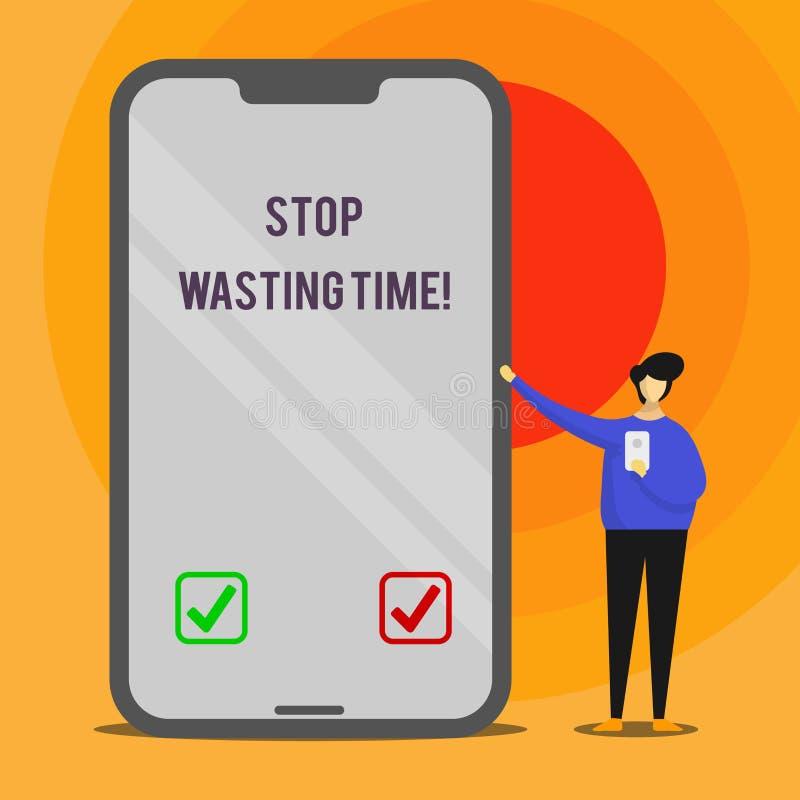 Fermata del testo di scrittura di parola che spreca tempo Concetto di affari per il consiglio dimostrazione o dell'inizio del gru illustrazione vettoriale