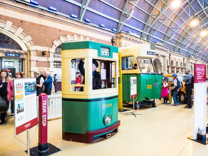 Fermata del tram che visualizza nell'Expo di trasporto di eredità alla stazione ferroviaria centrale di Sydney immagini stock libere da diritti