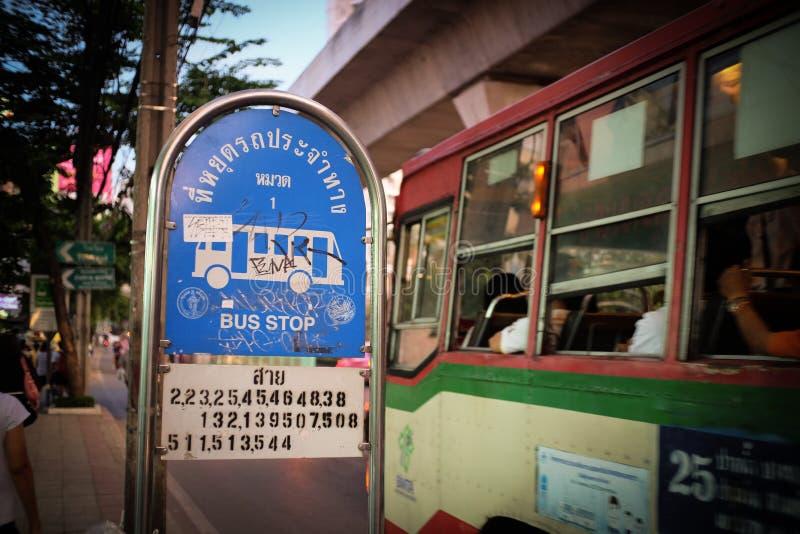 fermata dell'autobus in Tailandia fotografia stock libera da diritti