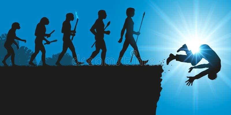 Fermata dell'evoluzione di umanità con la caduta brutale della specie umana royalty illustrazione gratis