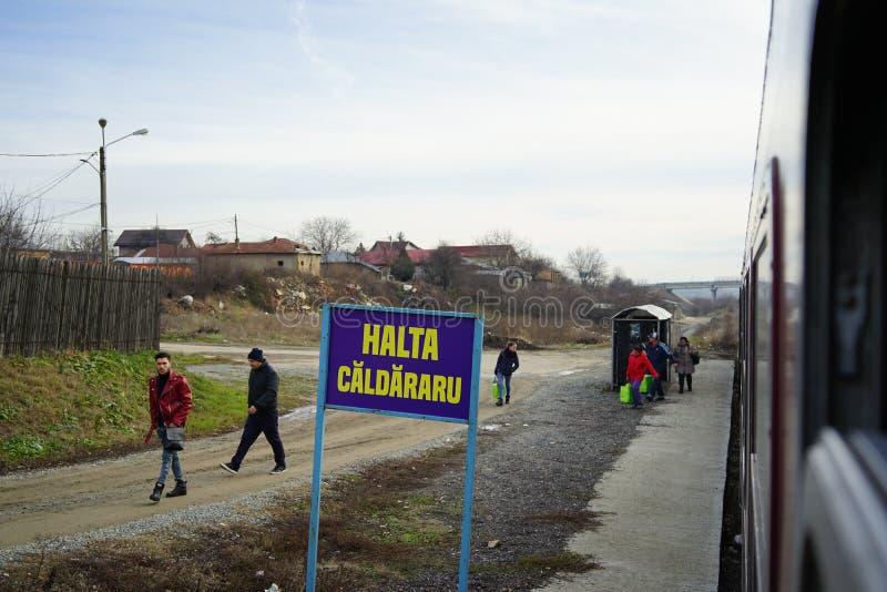 Fermata di Caldararu sulle rotaie di Oltenita fotografia stock libera da diritti