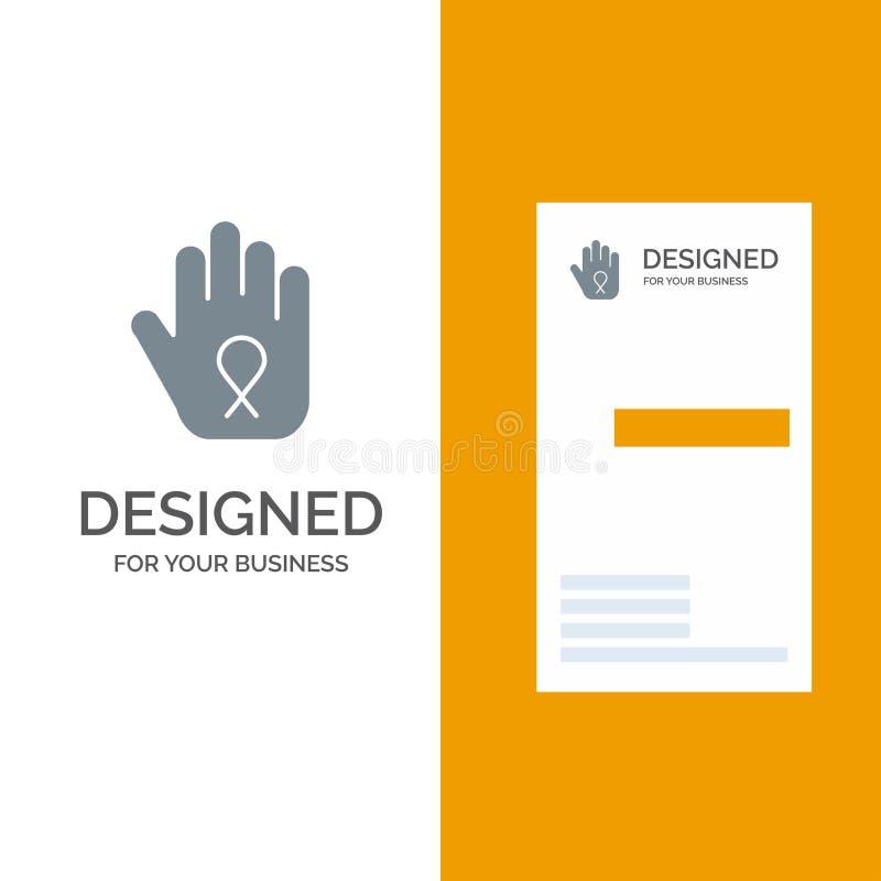 Fermata, mano, nastro, consapevolezza Grey Logo Design e modello del biglietto da visita illustrazione di stock