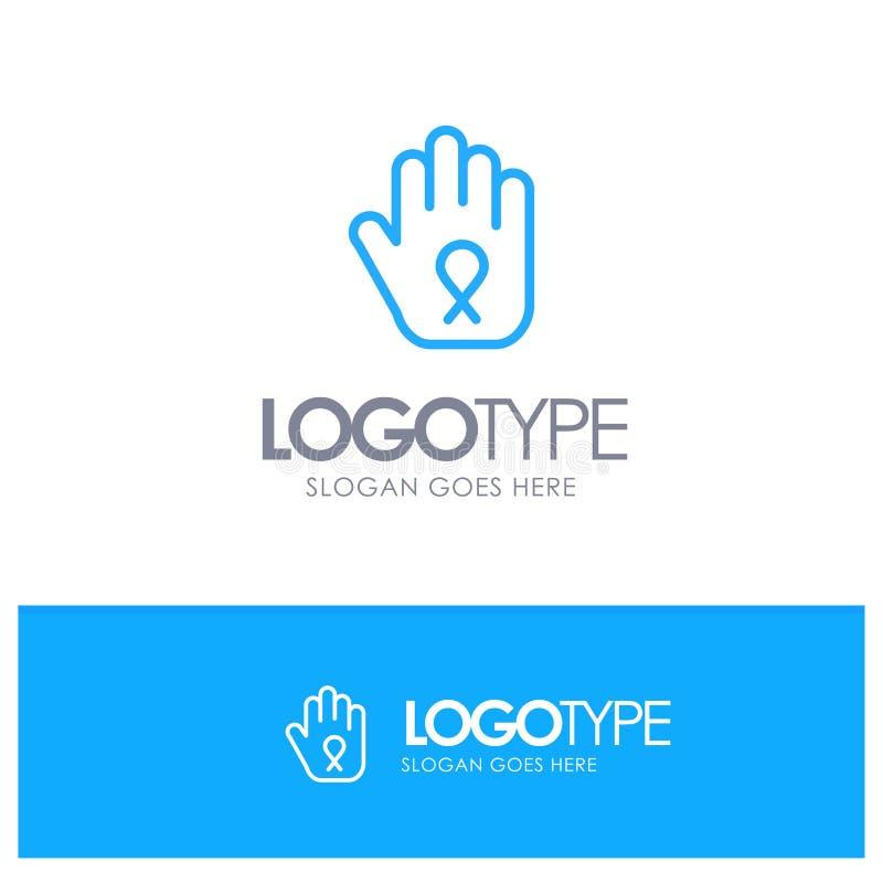 Fermata, mano, nastro, consapevolezza Logo Line Style blu illustrazione vettoriale