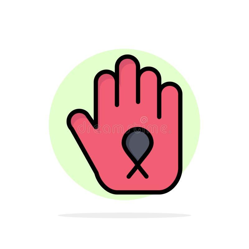 Fermata, mano, nastro, icona piana di colore del fondo astratto del cerchio di consapevolezza illustrazione vettoriale