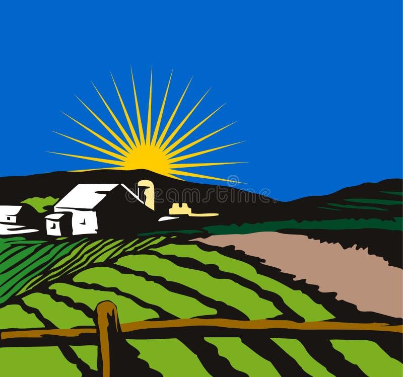 Ferme avec du soleil le dos dedans illustration libre de droits