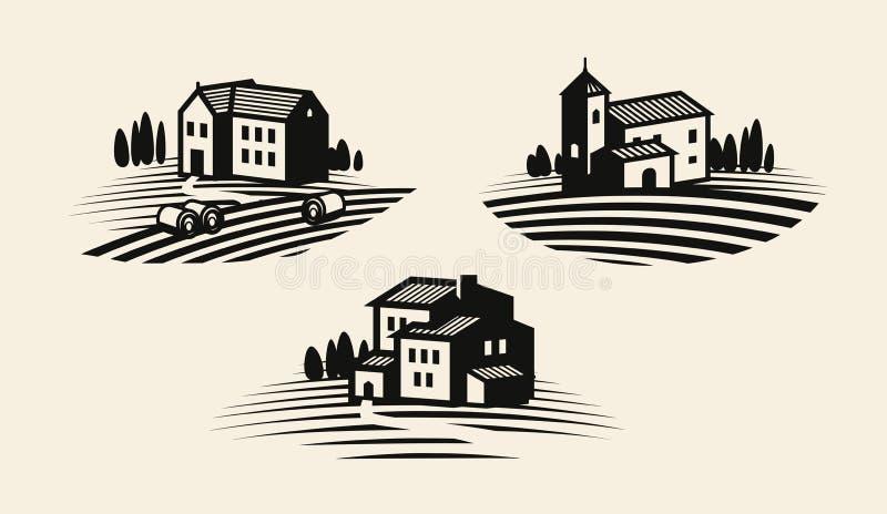 Ferme, cultivant l'icône ou le logo Industrie agricole, viniculture, ensemble de label de vignoble Illustration de vecteur illustration libre de droits