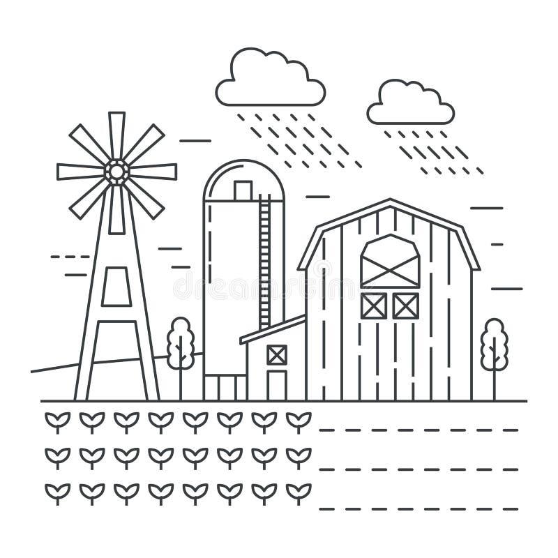 Ferme d'agriculture avec la ligne mince illustration de jardins de vecteur de calibre de logo de concept illustration de vecteur